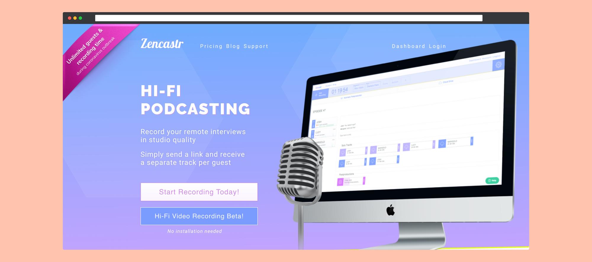 Screenshot of Zencastr Website Homepage