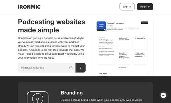 Hello to simple podcast websites with IronMic